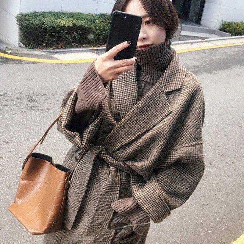 2019 New Autumn Winter Woolen Coat Women Long Woolen Jackets Vintage Double-faced Cashmere Coats With Belt Overcoats N997