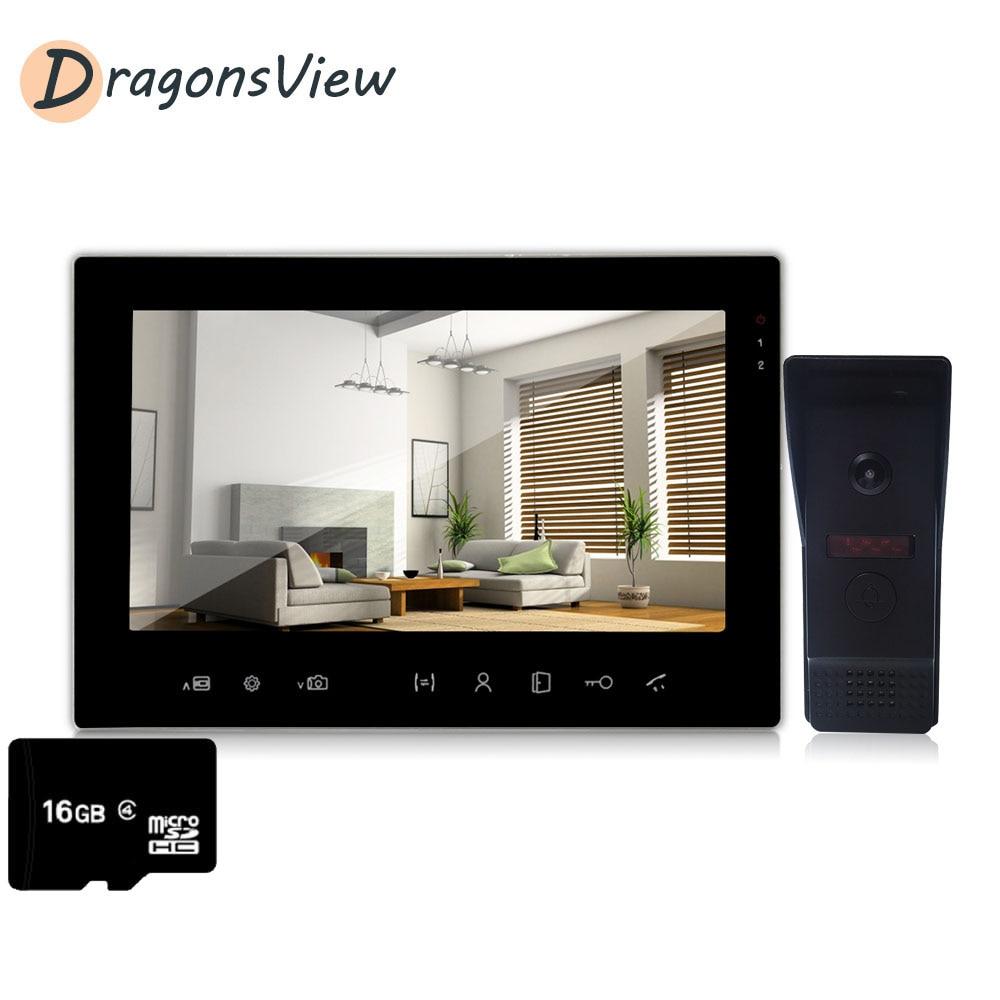 Dragonsview Video Door Phone 7'' TFT Wired LCD Visual Video Intercom SpeakerphoneColor Monitor And Waterproof IR Outdoor Camera