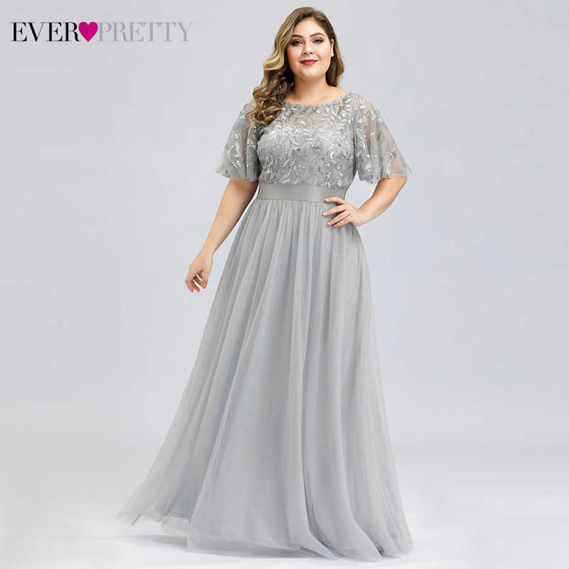 Plus Size Sequined Evening Dresses Long Ever Pretty A-Line O-Neck Tulle Elegant Formal Evening Gowns Vestido Noche Elegante 2019