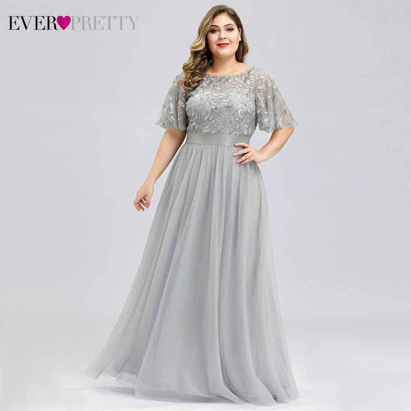 Plus Size Paillettes Lunghi Abiti Da Sera Mai Abbastanza Una Linea di O-Collo di Tulle Eleganti Abiti Da Sera Formale Vestido Noche Elegante 2020