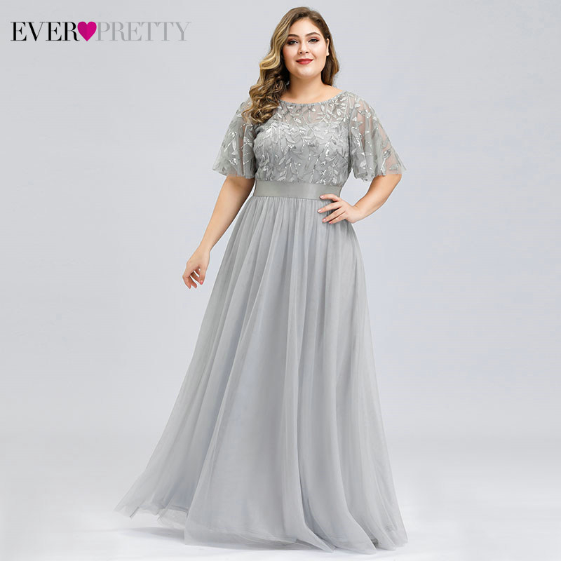 Plus Size Sequined Evening Dresses Long Ever Pretty A-Line O-Neck Tulle Elegant Formal Evening Gowns Vestido Noche Elegante 2020