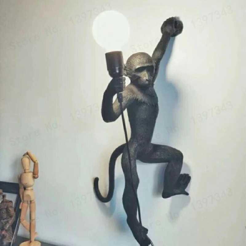 Бренд gzmj Смола светодиодный кулон с обезьяной свет лампы Черный Белый пеньковый Канат лампа гостиная висячие лампы для дома искусство Гостиная Кабинет комната блеск E27
