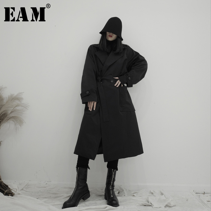 [EAM] Women Black Long Big Size Trench New Lapel Long Sleeve Loose Fit Windbreaker Fashion Tide Spring Autumn 2020 19A-a694