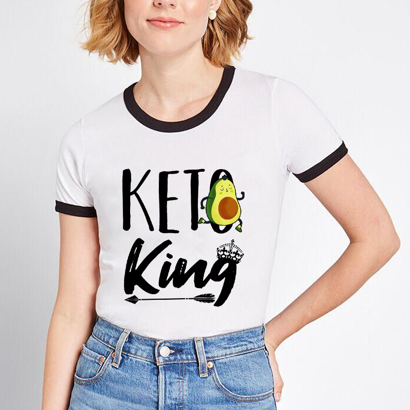I'm A Keto Girl In A Carbie World Print Funny Avocado Carb Lover Ringer T Shirt Women Harajuku Tops Keto Queen Aesthetic Clothes