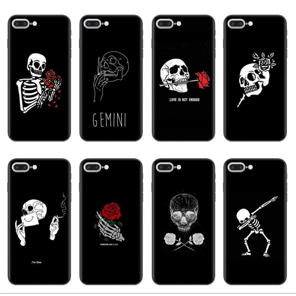 Retro Skull Rose Phone Case For iPhone 11 Pro XS Max X XR 8 8Plus 7 6 6S Plus 5S SE Soft Black Silicone Back Cover Coque Capa
