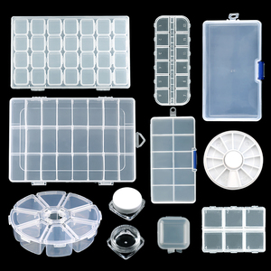 Jewelry Boxes Plastic Acrylic Cosmetic NailArt Pill Box Case Portable Storage Container Parts Stones Tools Y2663