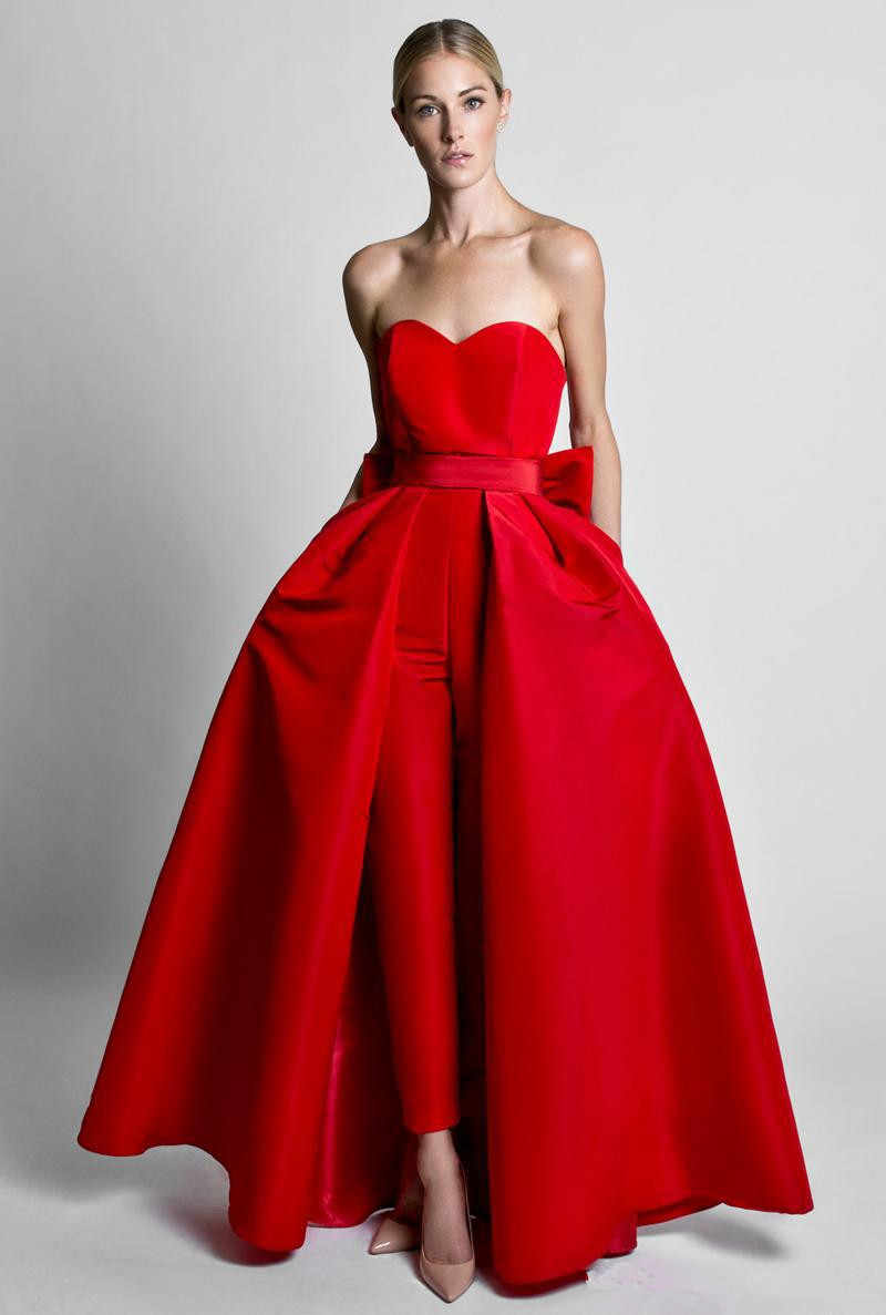 Red Muslim Evening Dresses A Line Sweetheart Red Detachable Bow Backless Jumpsuit Islamic Dubai Saudi Arabic Long Evening Gown