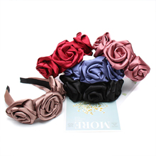 Xugar Rose Flower Satin Headband for Women Wedding Elegant Hairband Hair Accessories Bohemia Fashion Bezel
