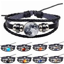 Jupiter Nebula Earth Moon Stars Planet Bracelet Handmade Glass Cabochon Solar System Mens Black Cool Punk Jewelry Dropshipping