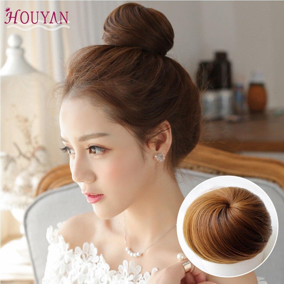 HOUYAN syntetyczne włókno sztuczne włosy kok rozszerzenie klip na syntetyczny pączek Postiche Cheveux sznurek Chignon Hairpiece