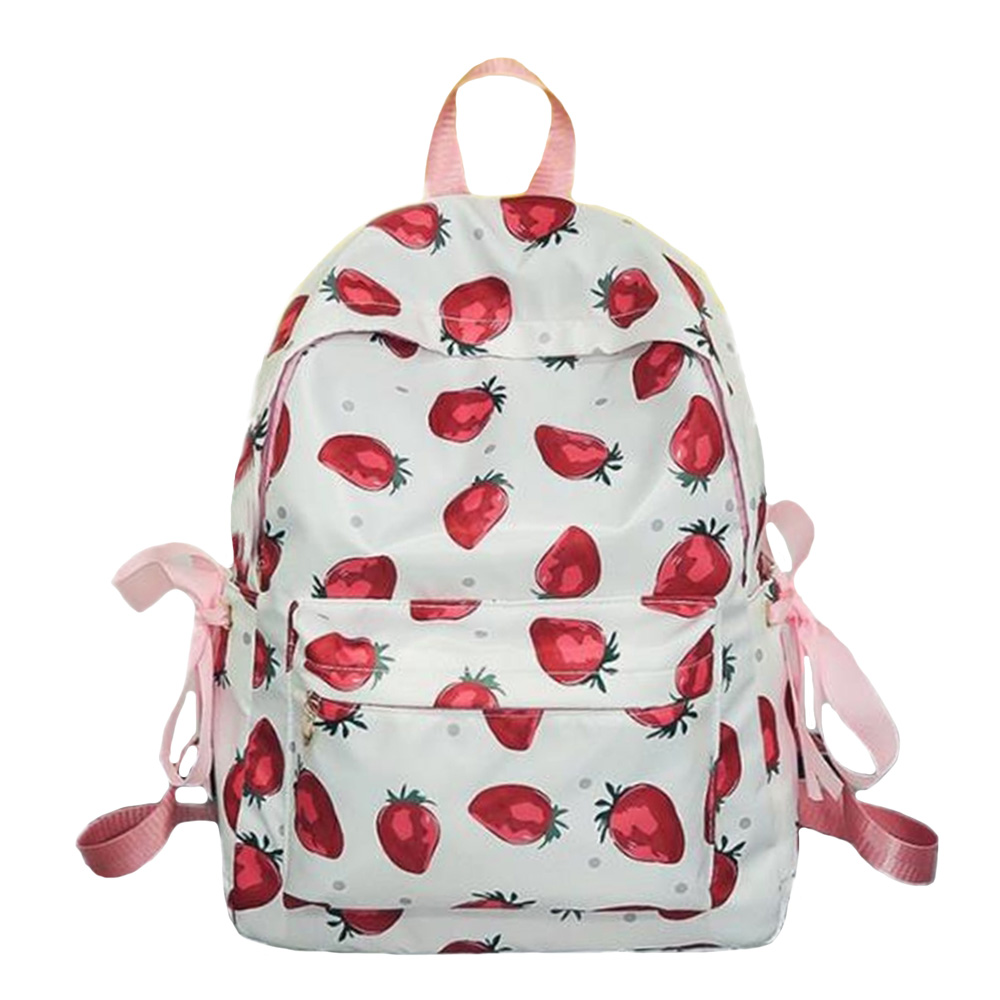 Hot Teenage Girl Backpacks Fruit Strawberry Printing Backpack Fresh Style Pink Bow Ribbon Shoulder Bags Casual Zipper Travel Bag in Backpacks from Luggage Bags