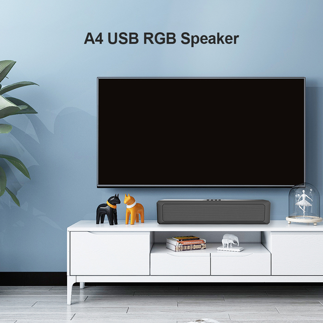 A4 6W RGB USB Wired Powerful Computer Speaker Bar Stereo Subwoofer Bass speaker Surround Sound Box for PC Theater TV Speaker 4