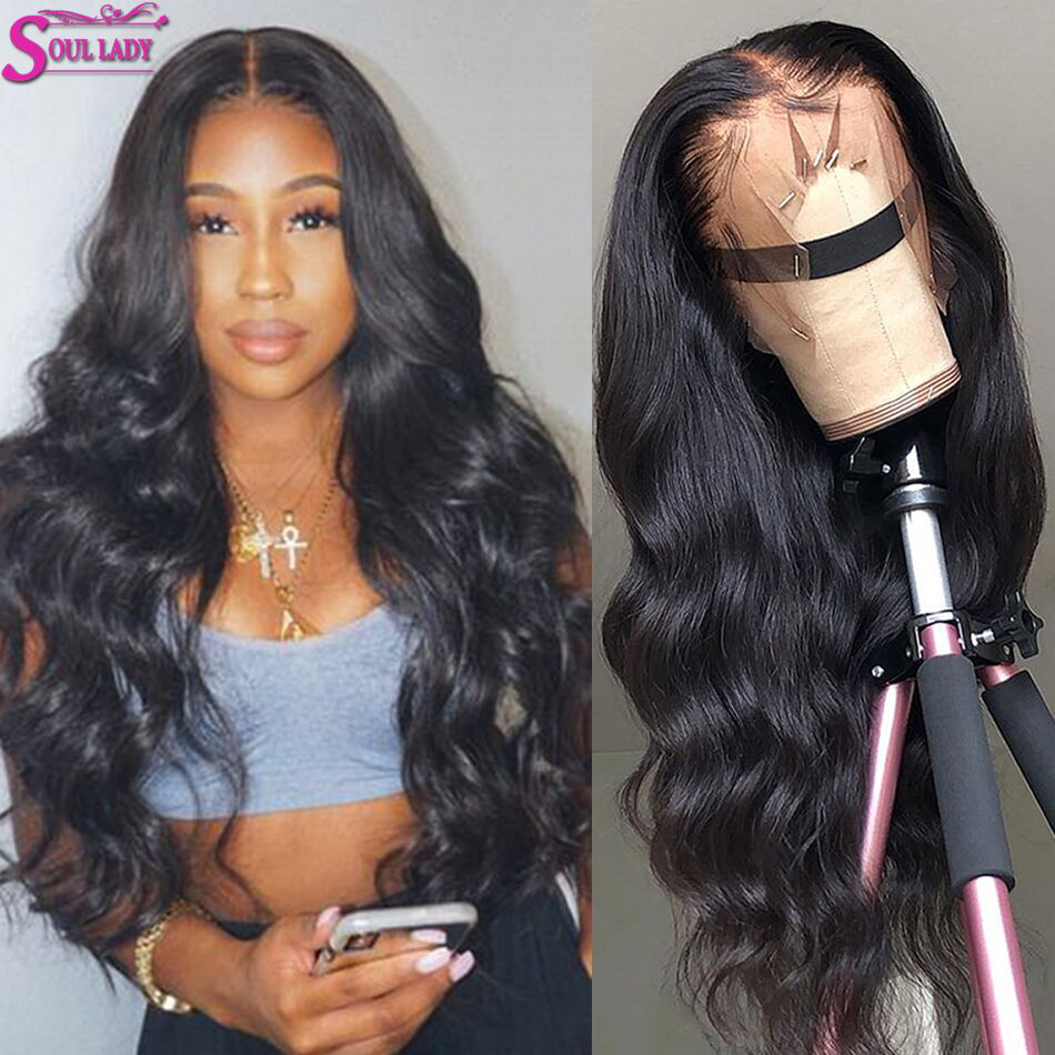 13x6 13x4 HD Transparent Lace Front Wigs Glueless Body Wave 360 Lace Frontal PrePlucked Lace Wig Human Hair Brazilian Hair Wig(China)