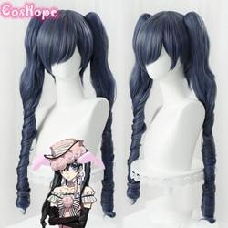 Ciel phantomhive cosplay preto mordomo cosplay feminino longo cinza azul peruca cosplay anime cosplay peruca resistente ao calor perucas sintéticas