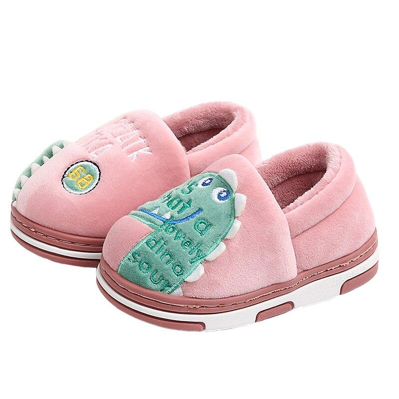 DOGEEK Boys Girls Autumn Winter Slippers Girls Cute Cartoon Dinosaur Home Shoes Children Warm Fur Slipper Kids Home Slippers