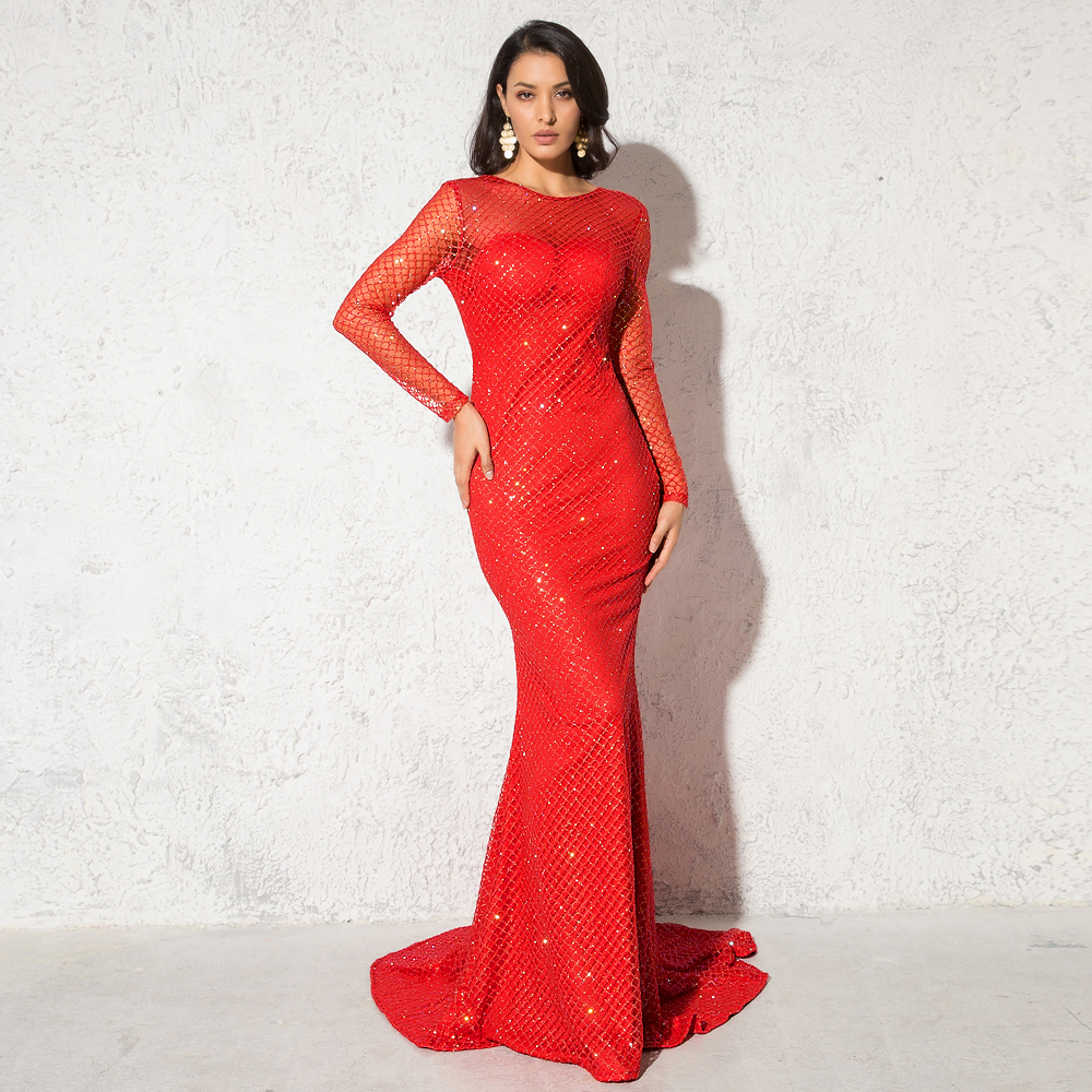 Red Glittered Maxi Dress Plaid Hollow Out O Neck Shiny Evening Party Dress Backless Floor Length Mermaid Dress