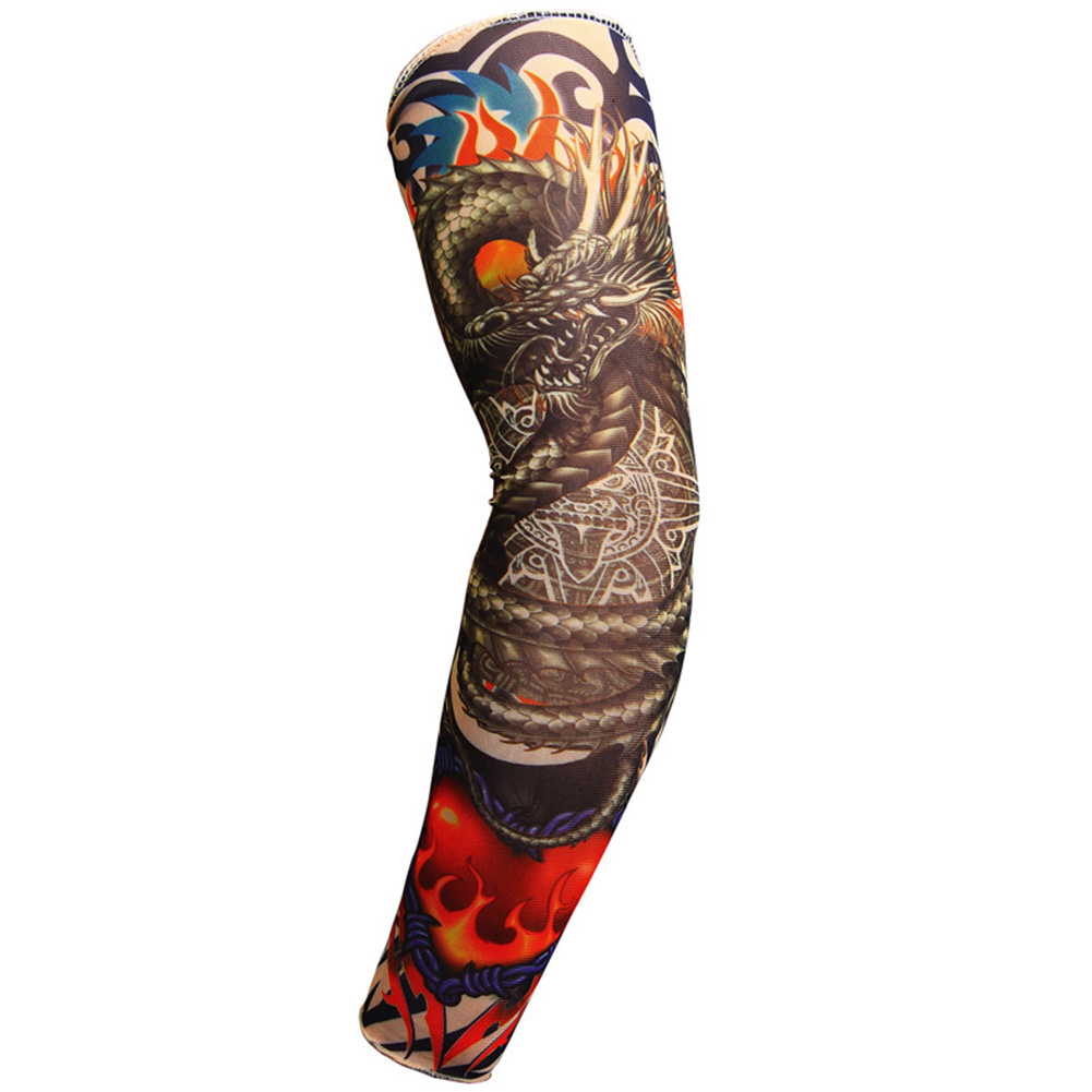 Arm Sleeve Temporary Tattoo Sleeves Arm Stockings Cycling Arm Sleeves Skin Proteive Stretchy Fake Unisex Halloween Costume