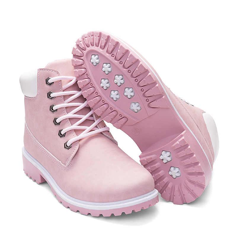 2019 männer Frauen Stiefel Leder Winter Sicherheit Schuhe Holz Land Stiefel Schuhe Botas Klassische Spitze Up Ankle Stiefel Unis Arbeit schnee Schuh