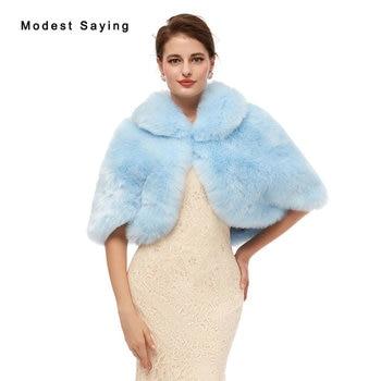 Elegant Sky Blue Evening Party Faux Fur Shawls 2020 New Arrival Wedding Prom Lapel Collar Stoles Warm Shrugs Wedding Accessories