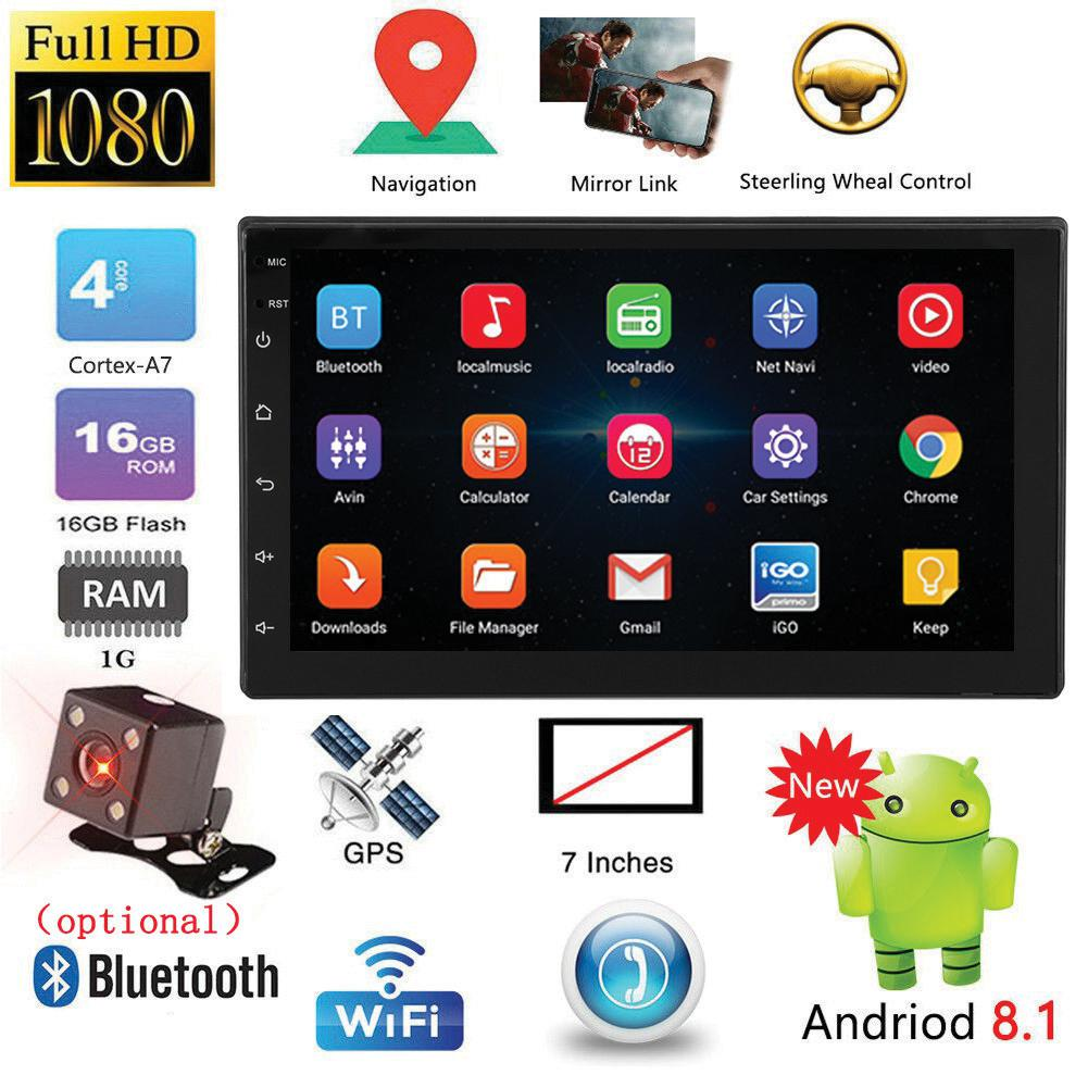 7 Inch Android 8.1 Double 2 DIN 16G Quad Core GPS Car Stereo MP5 Player FM + Rear Camera