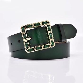 Cinturón Verde para mujer, cinturón cuadrado dorado con hebilla, cinturones de mujer de ocio, cinturón de cintura para Jeans, Pin Correa con hebilla Barry.Wang