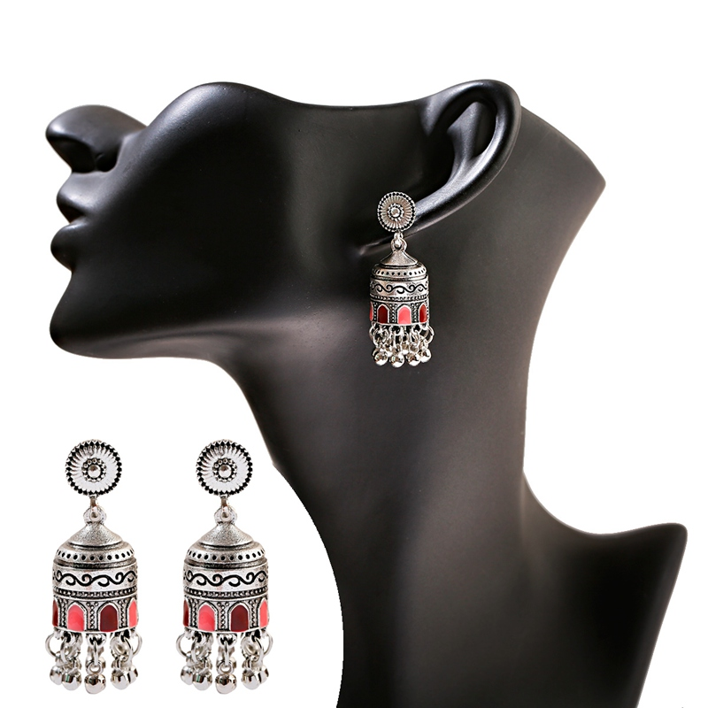H5259a79c82994baaaa2d33026fd02a23i - Retro Bollywood Oxidized Womens Jewellery Ethnic Silver Plated Afghan Bell Tassel Drop Jhumka Indian Earrings Wedding Jewelry