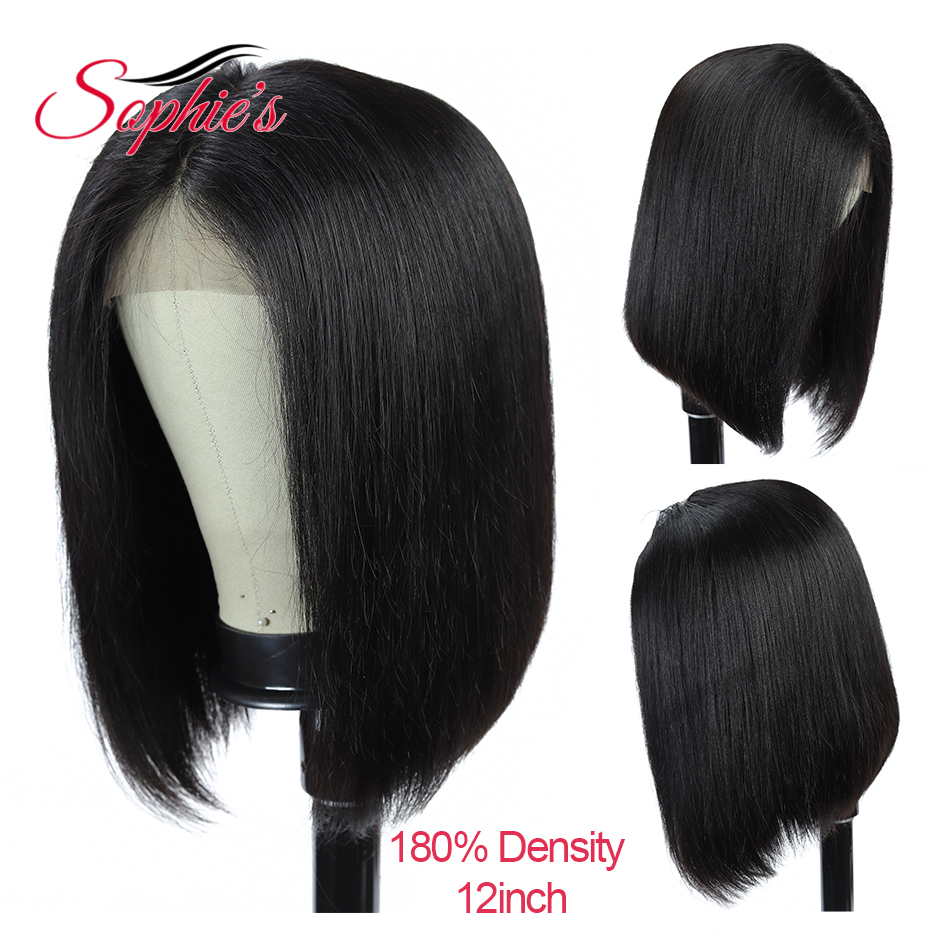 Sophie's 180 Density 4*4 Lace Closure Human Hair Wigs Straight Short Bob Human Hair Brazilian Remy Hair Bob Wig Pre Plucked