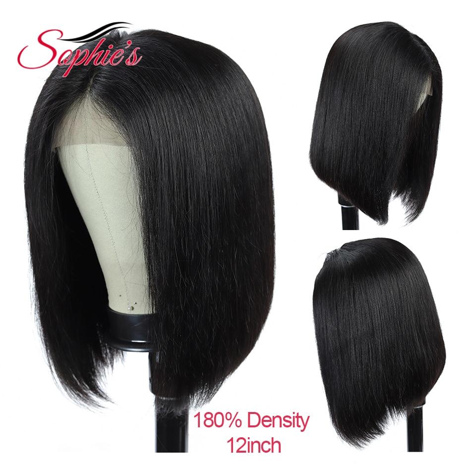 Sophie's 180 Density 4*4 Lace Closure Human Hair Wigs Straight Short Bob Human Hair Brazilian Remy Hair Bob Wig Pre Plucked