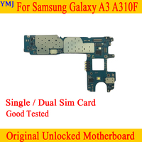 Single / Dual Sim Card for Samsung Galaxy A3 A310F Motherboard,Original unlocked for Samsung A310F Logic board by Free Shipping