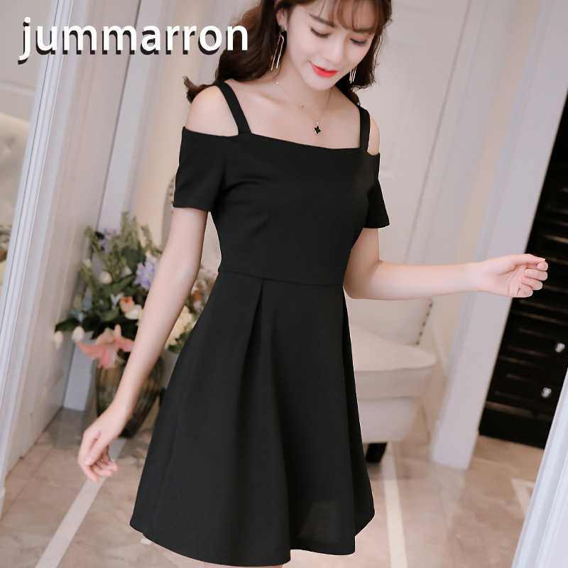 jummarron 2020 new Spring Summer women <font><b>dress</b></font> clothes slimming Korean version slash neck plus size <font><b>dress</b></font> red <font><b>dresses</b></font> black <font><b>dress</b></font> image