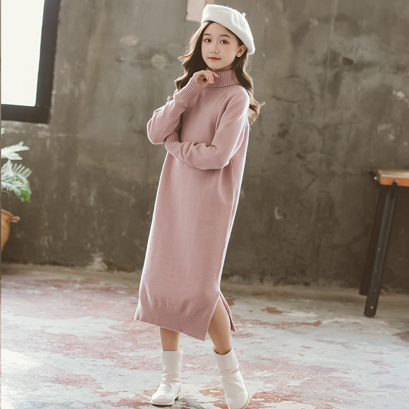 Girls Dress 8 To 9 Years 2020 Winter Clothes For Teenage Girls Sweater Dress Long Sleeve Solid Warm Kids Clothes Girls 7 To 8 12 2