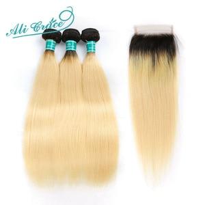 Image 5 - עלי גרייס בלונד 613 חבילות עם סגירת 100% רמי ישר שיער חבילות עם סגירת דבש בלונד 1B 613/613 שיער עם סגירה