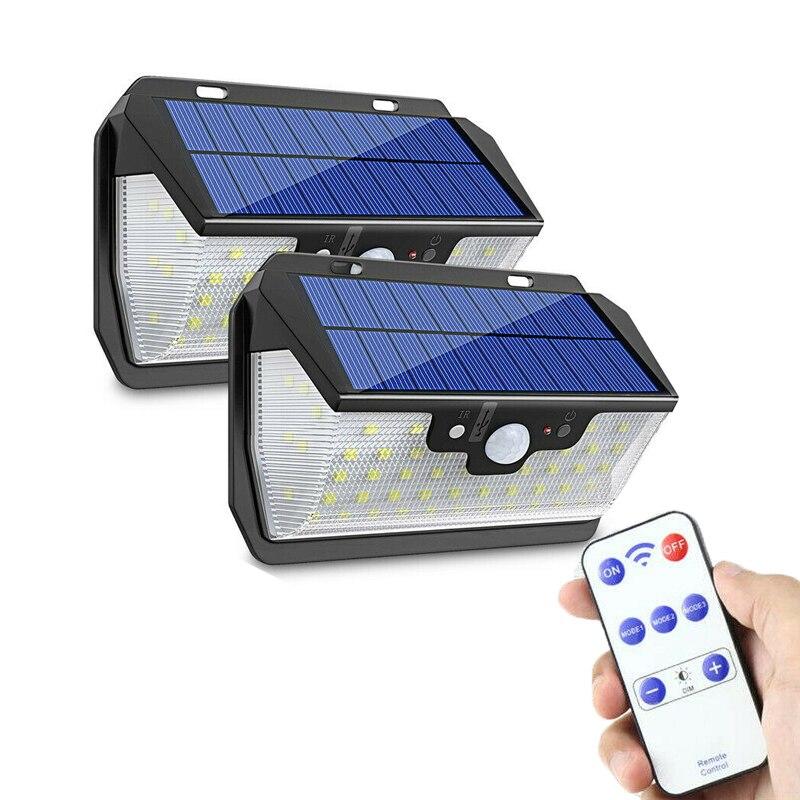 55led luz solar sensor de movimento pir jardim ao ar livre lâmpada de parede luz solar usb recarregável controle remoto led solar luz