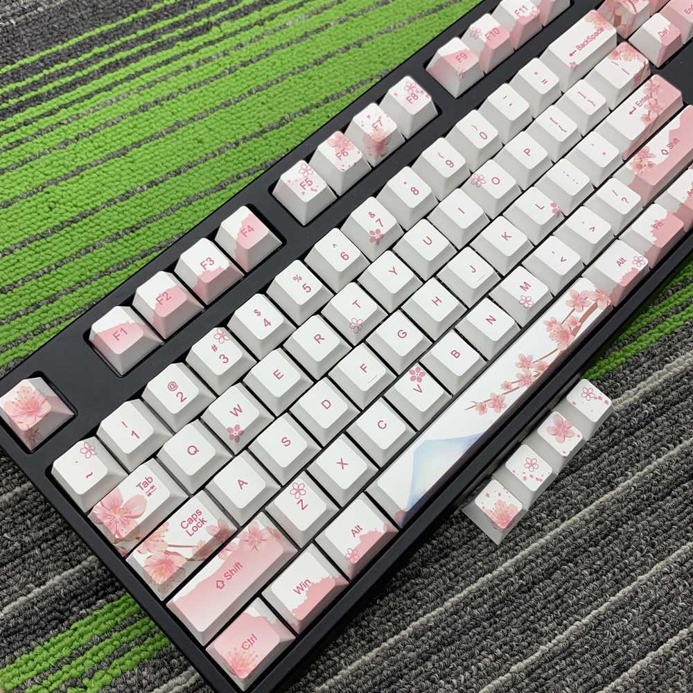 Cherry Blossom Keycaps Full Set Mechanical Keyboard Keycaps PBT 5 Face  Dye-Sublimation Keycap For All  Sakura Keycap Set