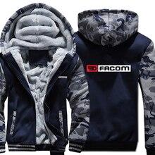Facom Hoodies Camouflage เสื้อแจ็คเก็ต Hoody Zipper ฤดูหนาวขนแกะ Facom Professionnels เครื่องมือ Sweatshirt