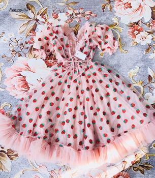 Women Sequin Strawberry Maxi Dress Summer Embroidery Mesh Lace Up High Waist Long Original Quality