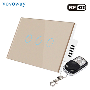 Image 4 - Vovoway US Glass panel touch switch,light switch,RF 433MHZ wireless  control,1\2\3 Gang AC110V 220V,Family wall stick