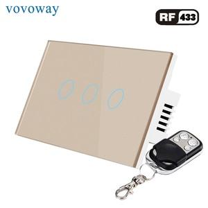 Image 4 - Vovoway interrupteur mural tactile sans fil RF 433MHZ, panneau en verre, US, avec 1/2/3 gangs ac 110/220V, contrôleur familial