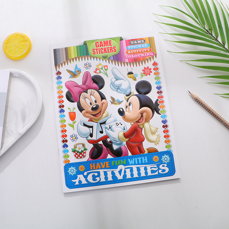 Disney Princess Mickey Graffiti Mickey Mouse Child Cartoon Coloring Book Frozen Spider-Man Baby Puzzle Picture Book