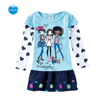Girls Long Sleeve Dress Spring Autumn Embroidered Cotton Comfortable Breathable Dress for Girls in Long Sleeve Dresses girls long sleeve dress embroidered children s paradise cartoon figure girl long sleeve dress for kids autumn dress cotton dress