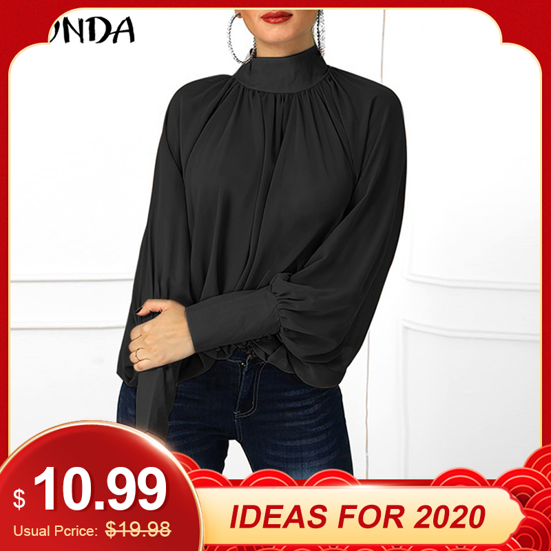 VONDA Plus Size Blouse Women 2019 Spring Tunic Sexy O Neck Long Lantern Sleeve Shirts Casual Loose Blouses Office Ladies Tops