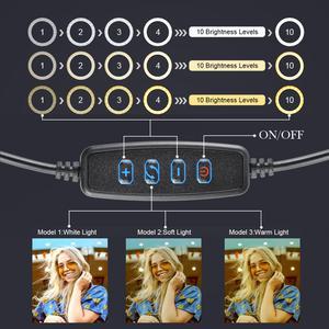 Image 3 - Dimmbare LED Ring Licht Kamera Foto Studio Fotografie Video Make Up Ring Lampe für Youtube VK Selfie Handy mit Stativ