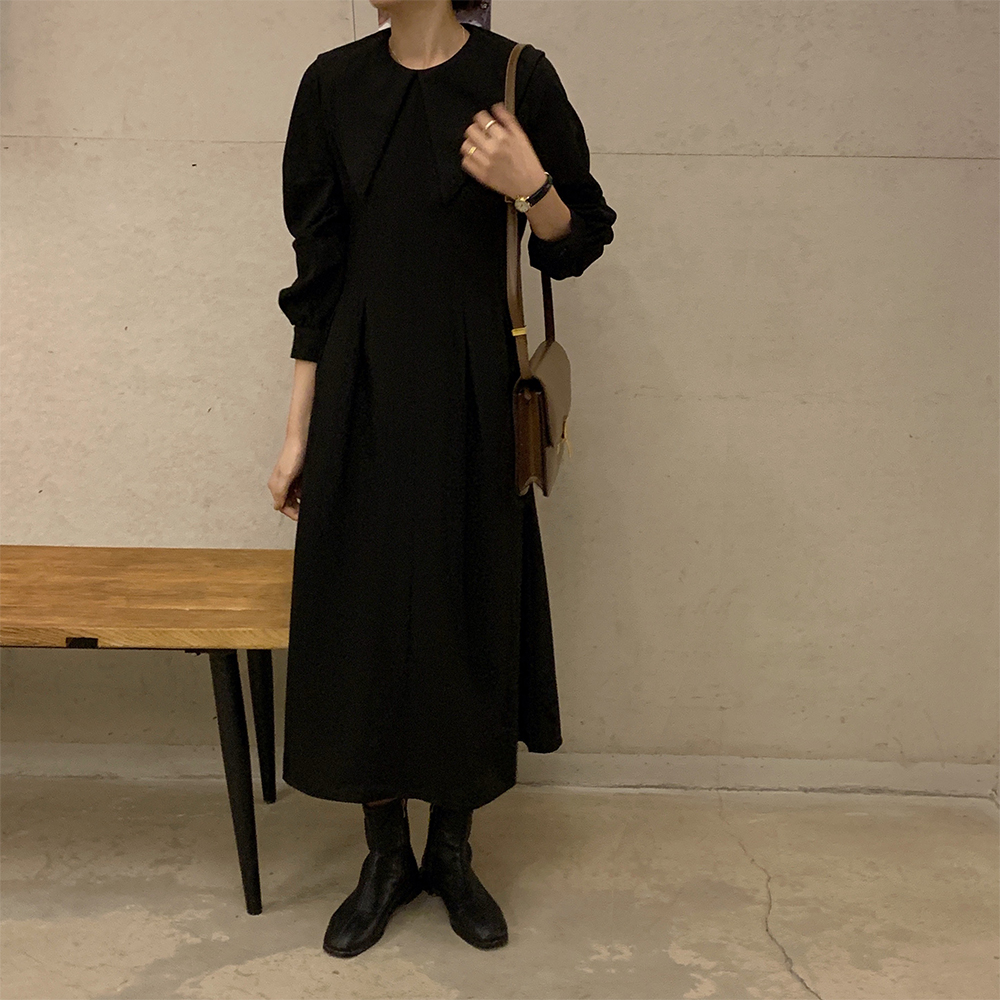 H525a8978ffec4d17bc971125001f5c43V - Autumn Big Lapel Collar Long Lantern Sleeves Solid Loose Midi Dress