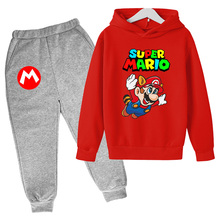 2021Mario Game Character Printing Hoodie Suit Cotton Kids Top+Pant 2Piece Children Clothing Set 4-14Y Fashion Girl Boy Clothes