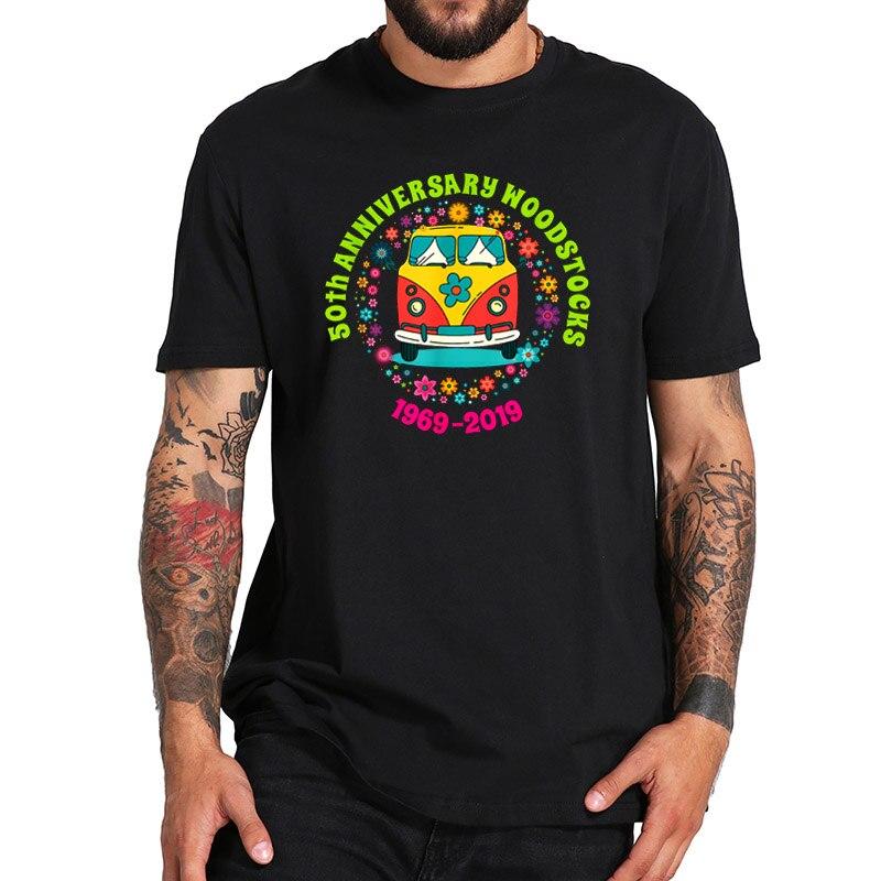 EU Size 100% Cotton T Shirt Peace Love Music Festival Tshirt Hippie Costume Hipster Music Lover Black Shirt