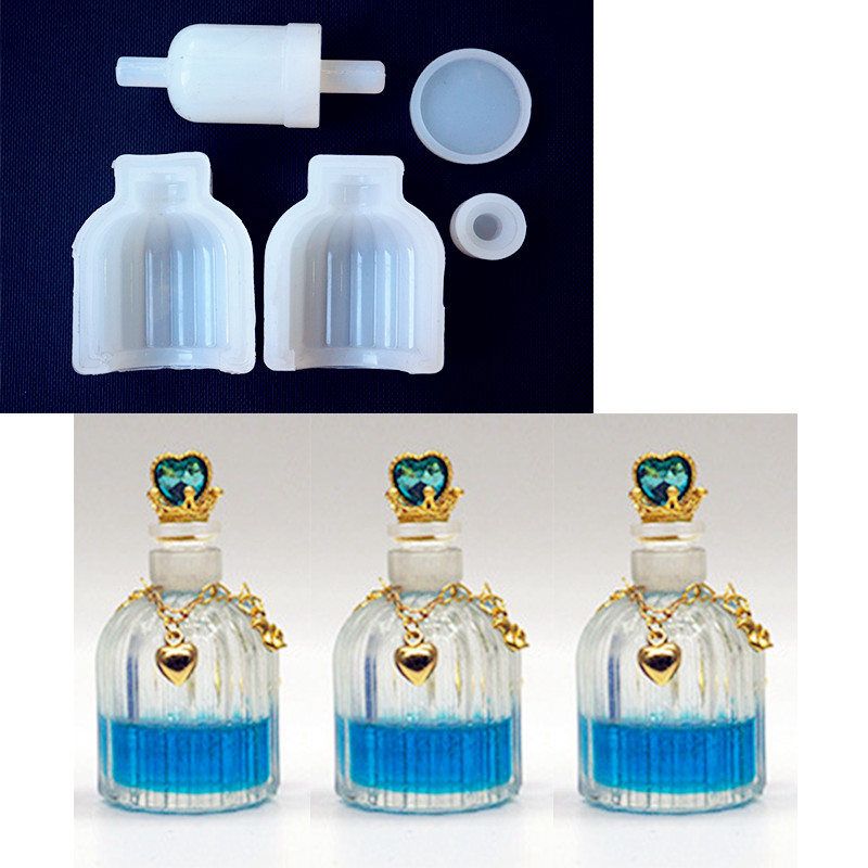 SNASAN Perfume Bottle Resin Silicone Mould Jewelry Making DIY Tool UV Epoxy Resin Box Silicone Mold