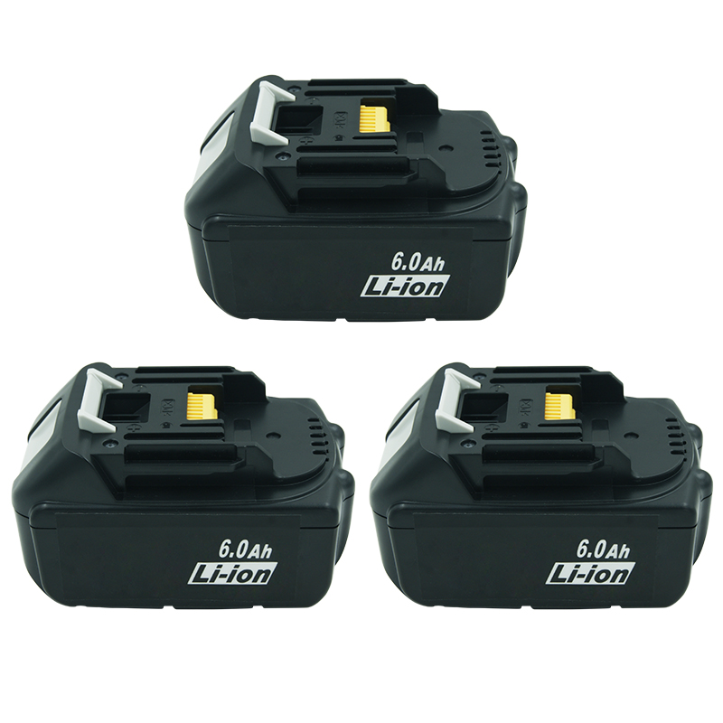 3PACK 18v <font><b>6000mAh</b></font> BL1860 Replacement Battery with LED Indicator for Makita Power Tool Cordless Drill BL1830 BL1850 LXT400 TD140D image