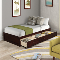 Twin Size Platform Storage Bed 3 Drawers More Storage Space For Bedroom Apartment Solid Wood Sturdy MDF And Composite Wood