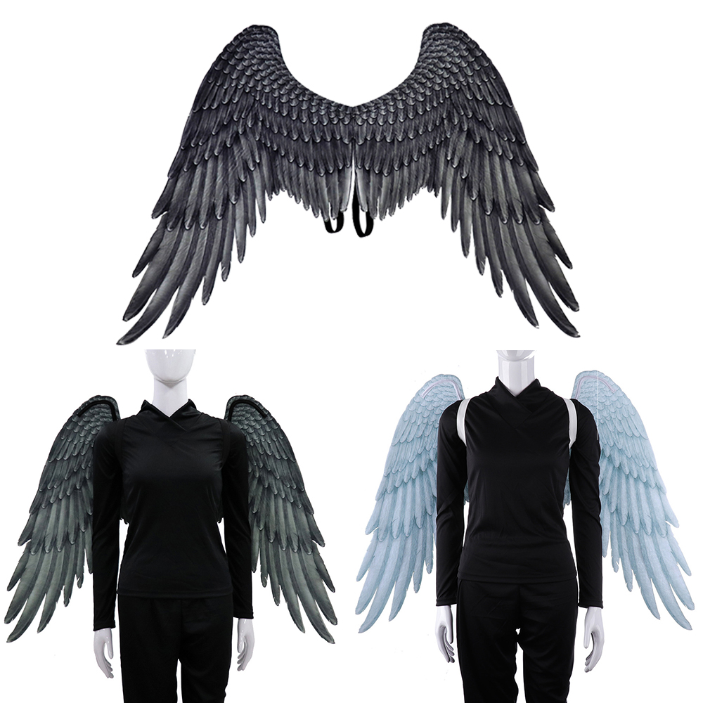 High Quality Pu Foam Soft Engelenvleugels Adult Women Cosplay Costume Black And White Asas De Anjo Alas De Angel Wing