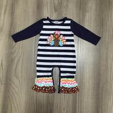 baby girl clothes baby thanksgiving romper infant toddler romper baby turkey clothes with stripe baby girls romper(China)
